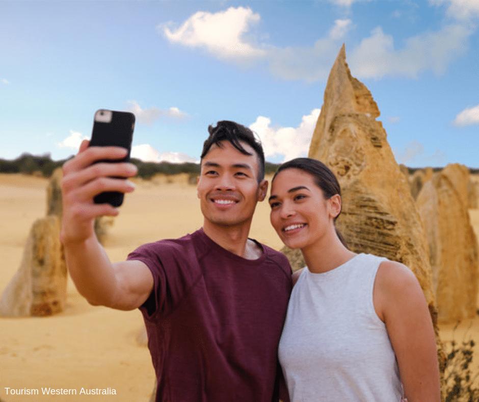 Happy couple at the Pinnacles, Nambung National Park.