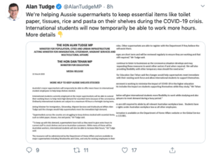 Alan Tudge Twitter post on COVID-19 crisis and international students