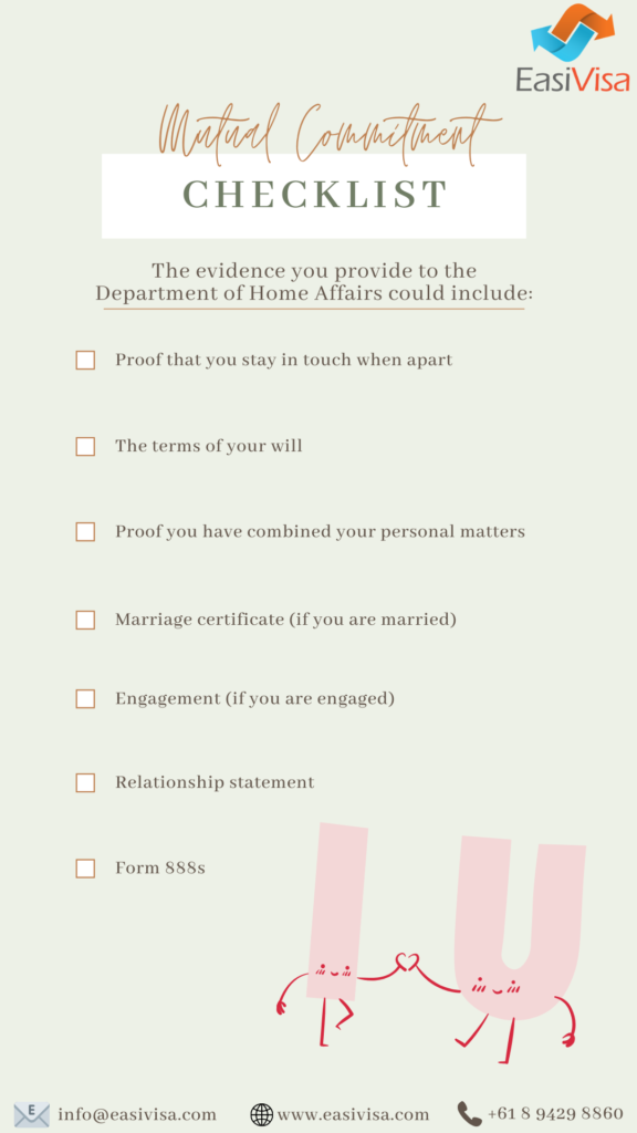 820 Partner Visa Checklist - Mutual commitment