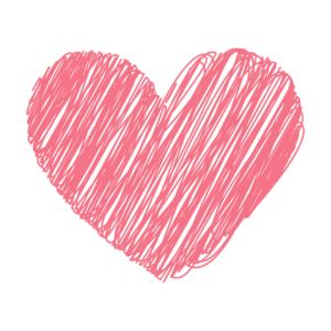 Scribble drawn pink love heart
