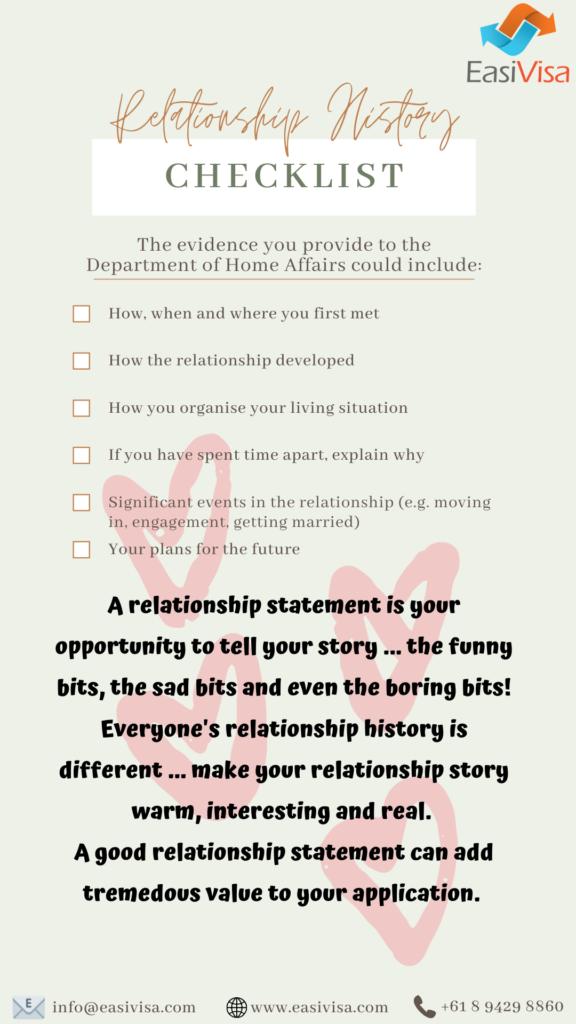 820 Partner Visa Checklist - Relationship history
