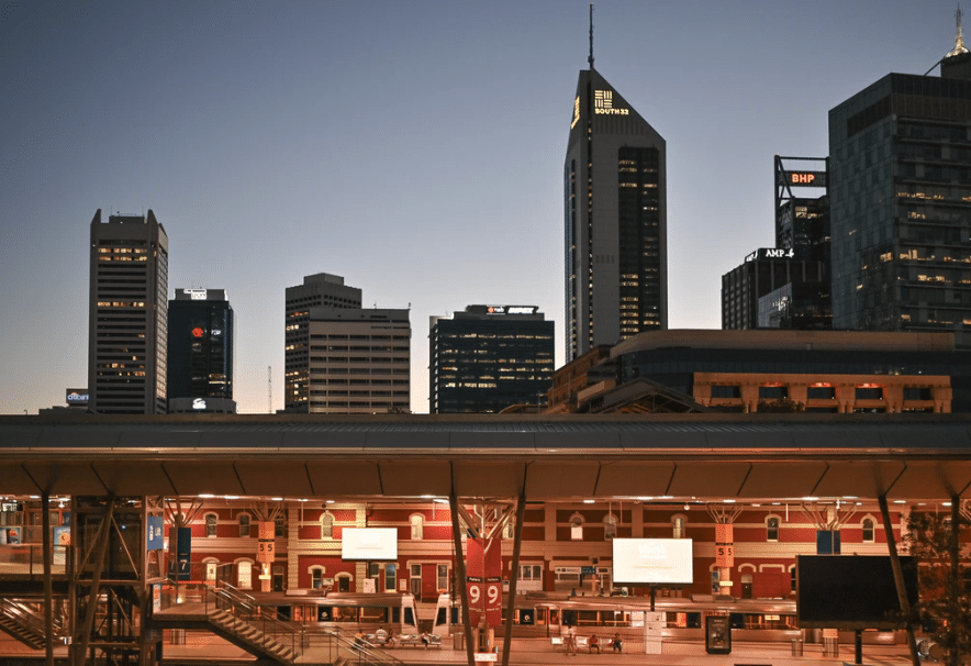 Perth city bus station at night time