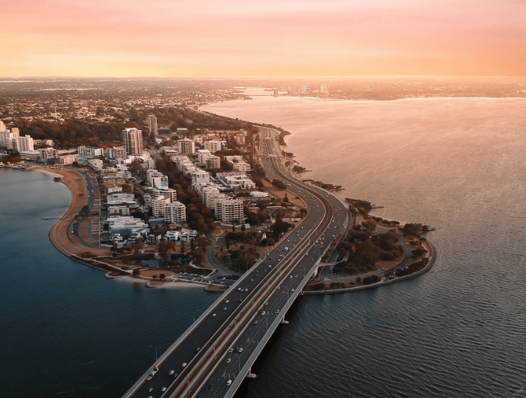 Perth city from the sky at sunset