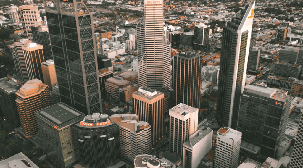 Perth city buildings from the sky